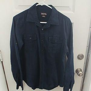 Navy blue Michael Kors linen button up shirt